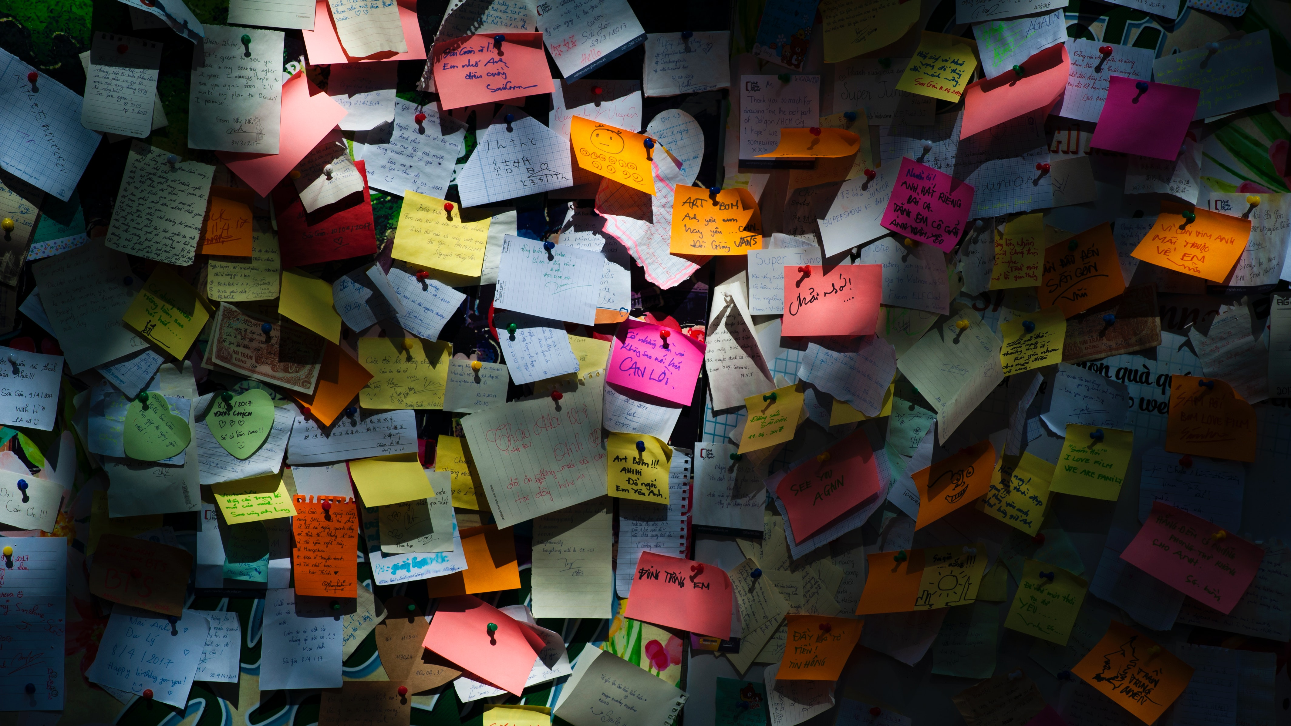 Colorful notes covering a wall