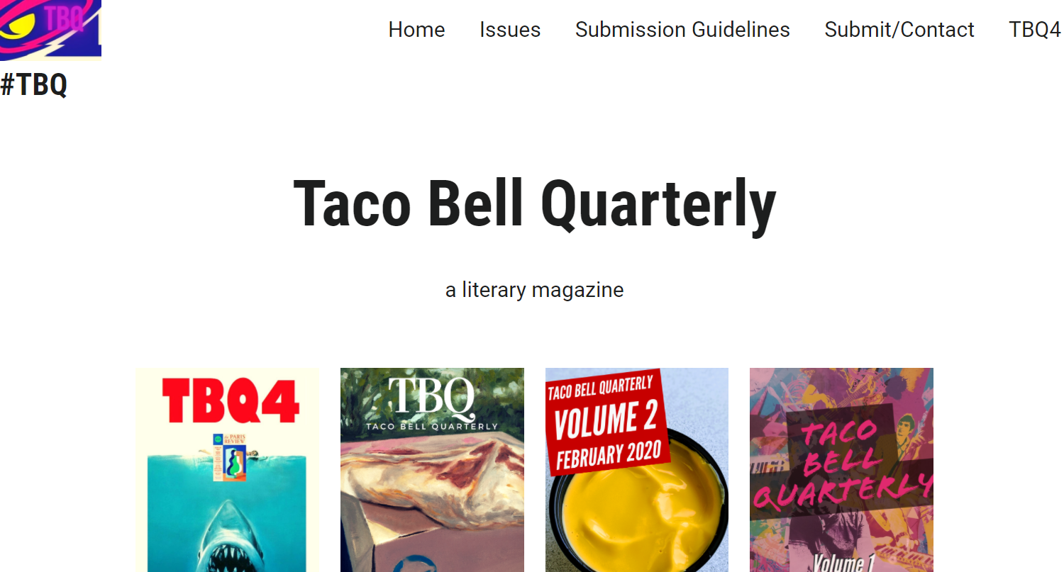Screenshot of Taco Bell Quarterly home page
